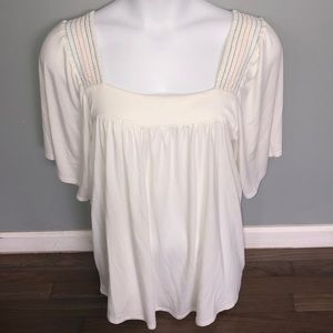 NWT Plus Size Avenue Flowy Cream Blouse 18/20